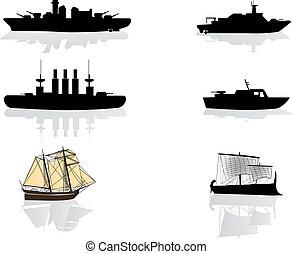 sylwetka, statki
