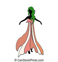sylwetka, strój, zielony, hair., pochwa, dziewczyna, partia., wzór