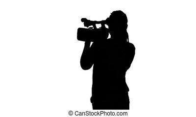 sylwetka, studio fotografii, white., aparat fotograficzny., profesjonalny