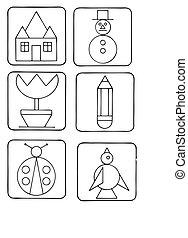 sylwetka, symbole, zbiór, wektor