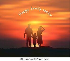 sylwetka, szczęśliwa rodzina, słońce, i, niebo, sunset.