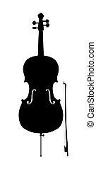 sylwetka, szkic, wiolonczela