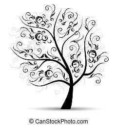sylwetka, sztuka, drzewo, piękny, czarnoskóry