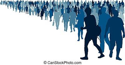 sylwetka, tłum, ludzie, odizolowany, usługiwanie, wektor, queue., coming., kreska