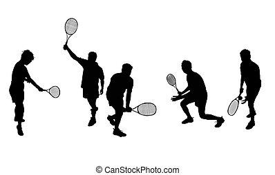 sylwetka, tenis, odizolowany