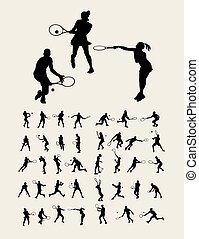 sylwetka, tenis, sport