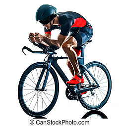 sylwetka, triathlete, triathlon, odizolowany, kolarstwo, biały, rowerzysta, b