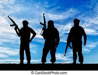 sylwetka, trzy, terroryści