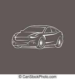 sylwetka, wóz, wektor, projektować, szablon, logo, ikona