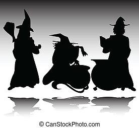 sylwetka, wektor, czarownica, trzy