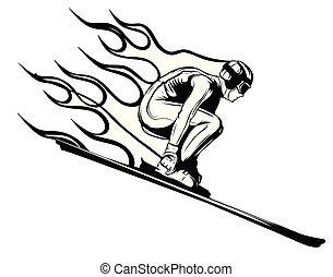sylwetka, wektor, jumping., narciarz, sport, illustration., concept.
