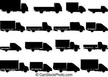sylwetka, wektor, komplet, ciężarówki