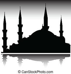 sylwetka, wektor, meczet