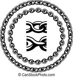 sylwetka, wektor, seamless, łańcuch