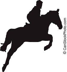 sylwetka, wektor, sport, jeździec