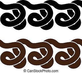 sylwetka, wektor, wąż, seamless