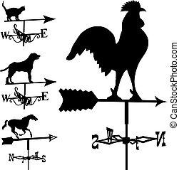 sylwetka, wektor, weathervanes