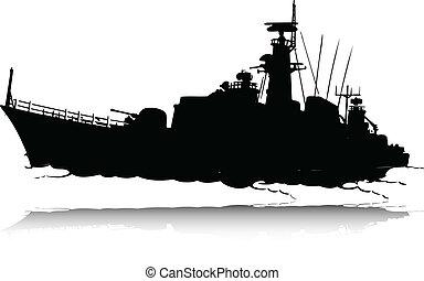 sylwetka, wektor, wojna, łódka