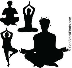 sylwetka, wektor, yoga