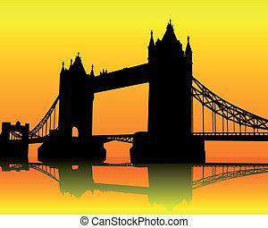 sylwetka, wieża most