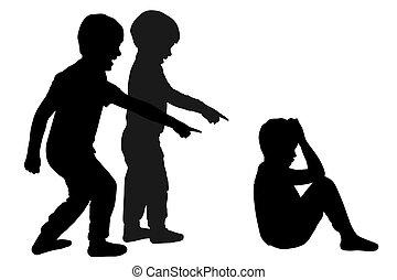 sylwetka, wyśmiewanie, wektor, children., child., znęcanie się, szkoła