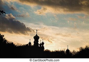 sylwetka, zachód słońca, kościół