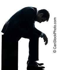sylwetka, zadumany, handlowy, posiedzenie, smutny, człowiek