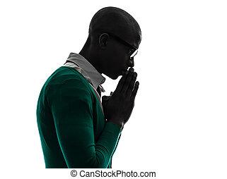sylwetka, zadumany, myślenie, czarnoskóry, afrykanin, modlący się, człowiek