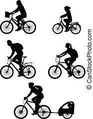 sylwetka, zbiór, bicyclists