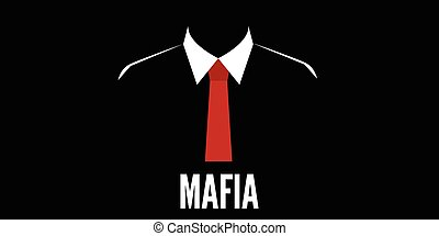 sylwetka, zbrodnia, krawat, mafia, czerwony, człowiek