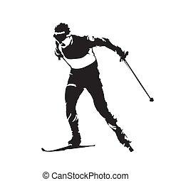 sylwetka, zima, kraj, abstrakcyjny, krzyż, sport., wektor, osobnik, narciarstwo, narciarz