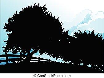 sylwetkowy, drzewa, szermierka