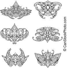 symétrique, conceptions, noeud, tatouage