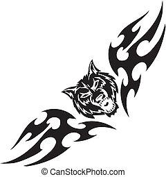 symétrique, illustration., -, tribals, vecteur, loup