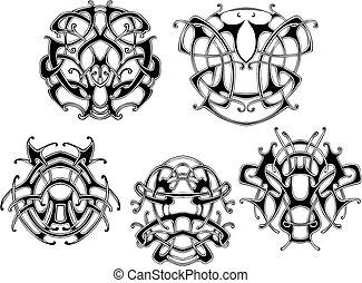 symétrique, noeud, motifs