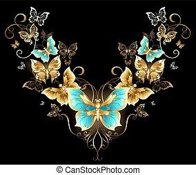 symétrique, papillons, modèle, doré