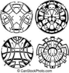 symétrique, rond, noeud, motifs