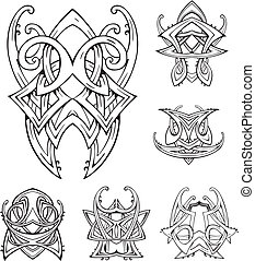 symétrique, tatouages, tribal, noeud