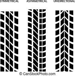 symétrique, vecteur, unidirectional, asymétrique, pneu