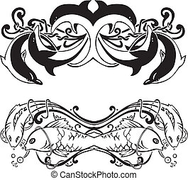 symétrique, vignettes, fish, stylisé, dauphins