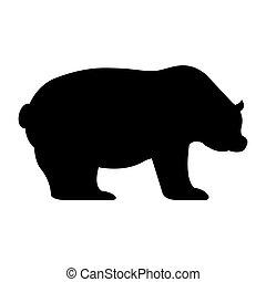 symbol, økonomi, isoleret, bjørn, ikon