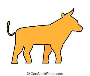 symbol, żółty, byk
