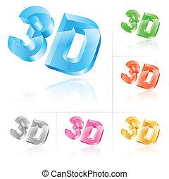 Symbol 3d - Set of symbol 3d. Vector illustration on white ...
