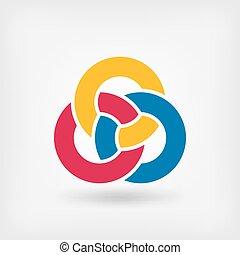 symbol, abstrakt, ringe, ineinandergreifen, drei