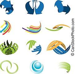 symbol, abstrakt, verschieden, art, satz, ikone