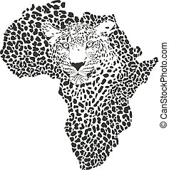 Symbol Africa in leopard camouflage - vector illustration of...