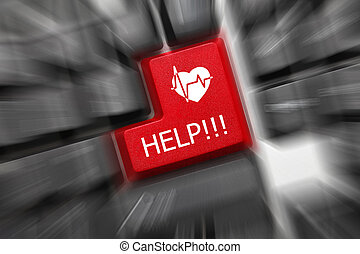 symbol), Ajuda, Coração,  -, cima,  zoom,  (red, tecla, teclado, Conceitual, fim, efeito, vista