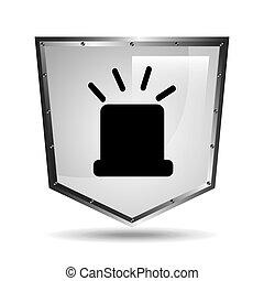 symbol alert alarm shield steel design