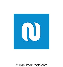 Symbol Alphabet White N Letter Combined With Blue Square, Vector Illustration Design