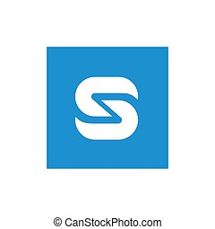Symbol Alphabet White S Letter Combined With Blue Square, Vector Illustration Design